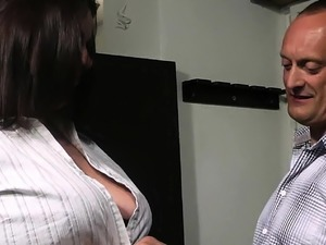 Busty secretary in stocking rides his cock