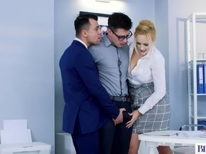Bisexual Office Romp of Two Studs and a Hot MILF