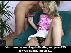 Amateur amazing blonde wife doing blowjob on the armchair