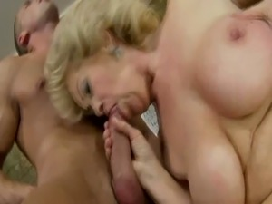 Bigtitted blonde GILF mature doggystyle banged free