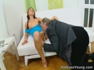 Anna has her pussy eaten out by older man free