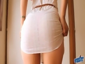 Perfect Butt Teen! Showing Herself in a See-Through Dress! free