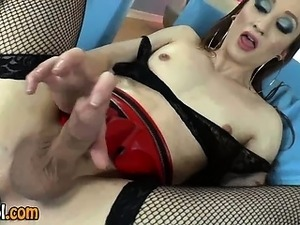 Fetish tgirl jerking cock and using dildo