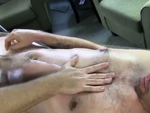 Straight amateur in trance of gay massage