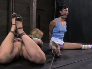 Ballgagged sub in electrosex punishment