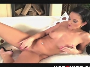 Sexy pornstar, Vanessa Jordin, strips naked and plays with her beautiful...
