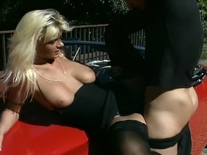 Blonde enjoys while dude eats her pink pussy. Then she turns and takes hard...