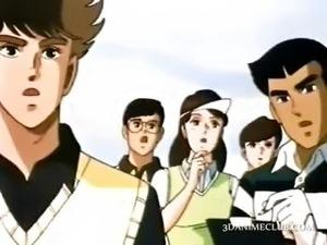 Hot anime girl seducing handsome boy craving for sex
