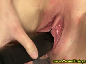 Watersport slut gets pussy filled before starting her golden shower HD