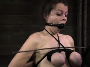 Ballgagged tied up fetish sub wax play