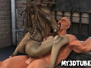 3D alien babe sucks cock and gets fucked hard