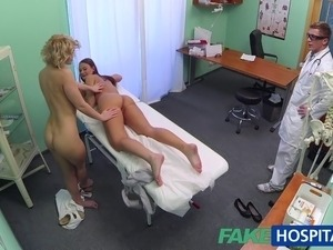 Both doctor and nurse give new patient thorough sexual checkover