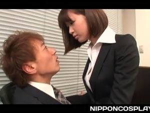 Naughty Japanese office girl stripping and sucking big stiff cock at work