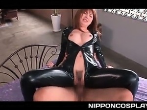 Latex Japanese sex queen taking a hardcore doggy fuck
