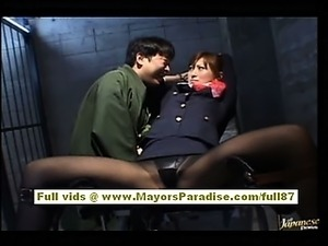 Chihiro Hara Naughty Asian moidel is tied up in jail and gets a sex train