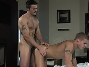 Dripping from his shower, Trystan drops towel for bud Brody