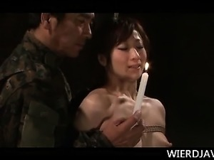 Naked Asian army girl gets tortured with hot wax in ropes