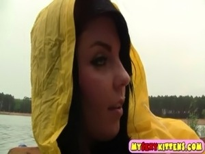 Horny teenie in a raincoat free