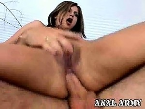Lovely army bitch Gia Jordan getting anally screwed by a big shaft in doggy...