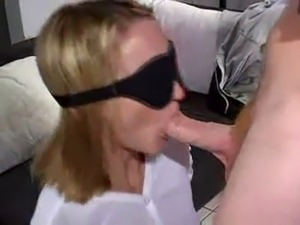 He Blindfolds His Girl then Tricks Her into Blowing His Friends free