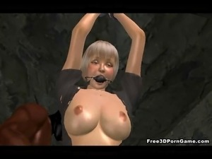 Two tied up 3D cartoon babes taking a hard black cock