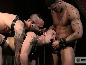 Gunn and Knox free the young stud and take turns fucking him