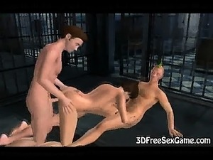 Sexy 3D brunette gets double teamed in a jail cell
