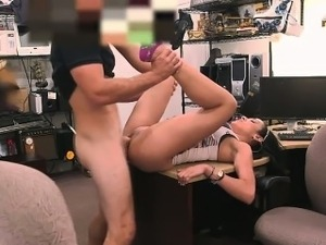 Latina girl sells  phones and fuck owner