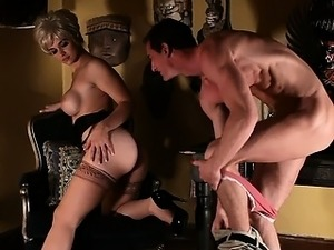 Sara Sloane nursing on cock in Psycho porn parody