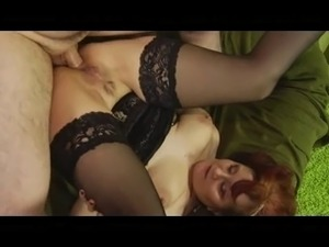 Hairy Redhead Granny in Stockings Fucked LST