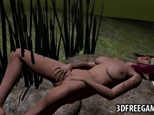 Mouth watering 3D cartoon redhead sex kitten rubbing her hands all over...