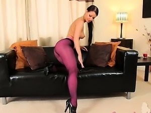 Purple nylon pantyhose on hot glamour