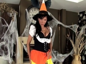 Babe in a costume and sexy lingerie for Halloween