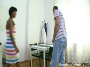 Kim is a black virgin who with her man gets her pussy inspected by her doctor...