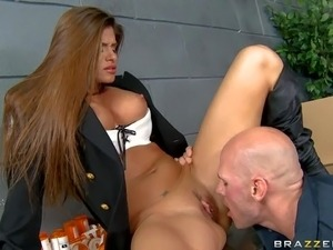 Adorable smoking hot long haired police officer Madelyn Marie with