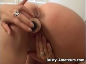 Busty amateur Violet playing herself with toy free