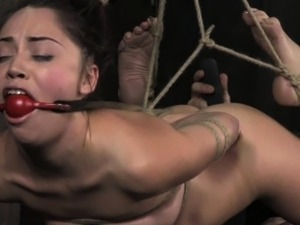 Suspended hogtied ballgagged sub wrecked