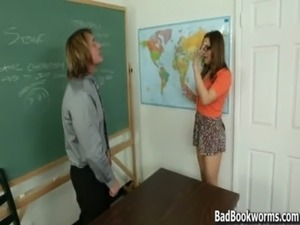 Blackmailing the Teacher to Fuck her Teen Pussy - BadBookworms.com free