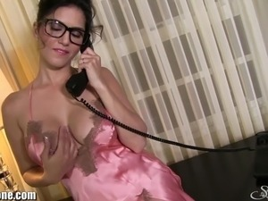 The solo with the sexy pornstar Sunny Leone in a dirty pink lingerie