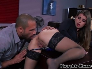 Bunny Freedom fucking her masseur in her stockings and giving a good view