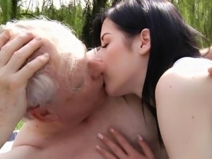 Teen girl fucking old man outddoor to cure sex addiction for older guys