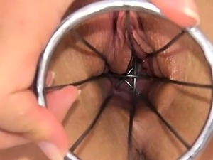 Weird kitchen toy in her pussy hole