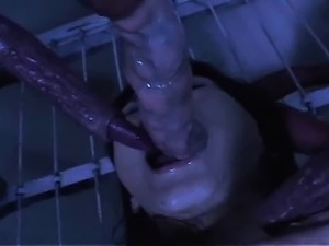 Hot asian nurse likes to swallow sticky tentacle when her
