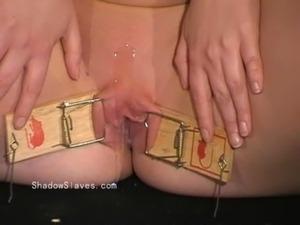 Blonde fetish slave Donna Dennieres whipping and tit tortures of debutant...