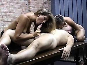 Sexy blonde supervisors fucking handsome prisoner