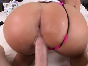 Big butt brunette girl with big tits gets fucked
