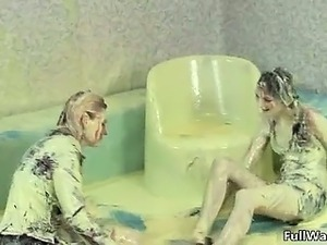Sexy blonde and brunette sluts go crazy part2
