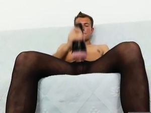 Gay gent masturbating in hose