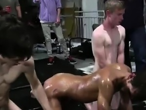 Teen fraternity newbies try group gay massage