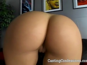 Meaghen takes cock from behind and gets cum on her ass at POV Casting Couch.com